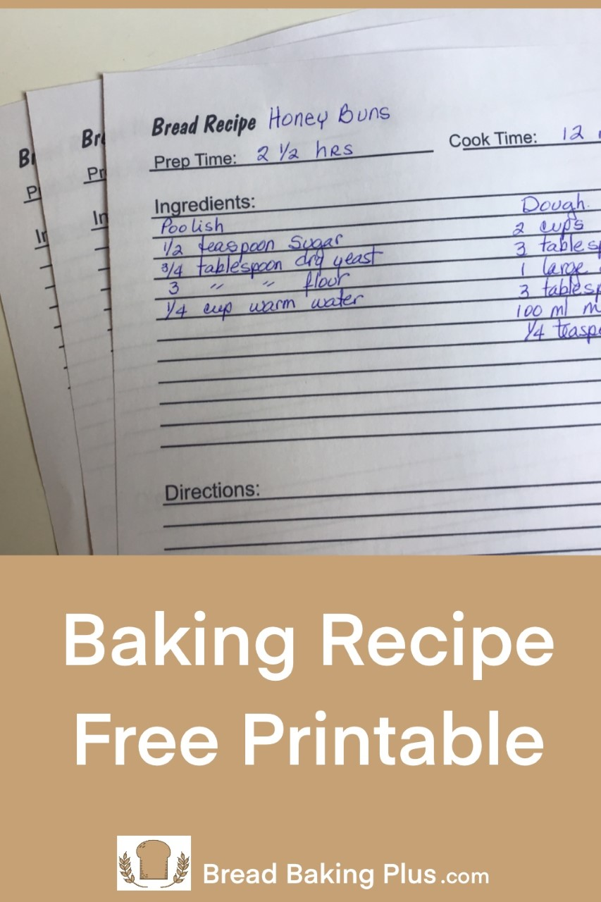 Baking Recipe Free Printable